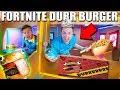 REAL LIFE FORTNITE FOOD! Durr Burger BOX FORT (FOOD CHALLENGE)