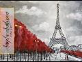 Easy Eiffel Tower Acrylic Painting | Impressionist Beginner Paris Art Cityscape | Angelooney