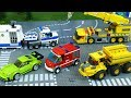Let's play with Cars: Fire Truck, Police car, dump truck and Racing Cars . Toy Vehicles for Kids