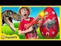 Giant Life Size Raptor and Park Rangers! Dinosaur Surprise Egg, Dino Kids Family Game & Toys
