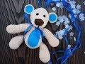 Мишка погремушка из плюшевой пряжи. Вяжем вместе. How to tie a teddy bear