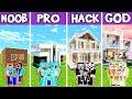 Minecraft: FAMILY MODERN LUXURY MANSION BUILD CHALLENGE - NOOB vs PRO vs HACKER vs GOD in Minecraft