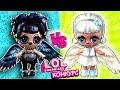 Летающие куклы лол сюрприз - черный и белый ангел. Мультик ЛОЛ добро против зла. Конкурс LOL dolls