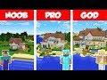 Minecraft NOOB vs PRO vs GOD: BEACH HOUSE BUILD CHALLENGE in Minecraft / Animation